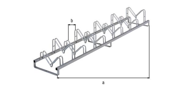 Mehrfach-Fahrradständer Kiel, freistehend, Material: Stahl roh, Oberfläche: feuerverzinkt passiviert, Rahmen mit Bohrungen zum Aufschrauben, Länge: 3000mm, Abstand Mitte - Mitte Halter: 300mm, Rahmenstärke: 40 x 40mm, Bügel-⌀: 16mm, Anzahl Einstellplätze: 10, Anzahl Löcher:3, Loch: ⌀11mm