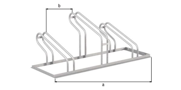 Fahrradständer City, freistehend, Material: Stahl roh, Oberfläche: feuerverzinkt passiviert, Haltebügel einseitig, Länge: 1050mm, Abstand Mitte - Mitte Halter: 350mm, Gesamtbreite: 489mm, Gesamthöhe: 412mm, Rahmenstärke: 25 x 25mm, Bügel-⌀: 16mm, Anzahl Einstellplätze: 3