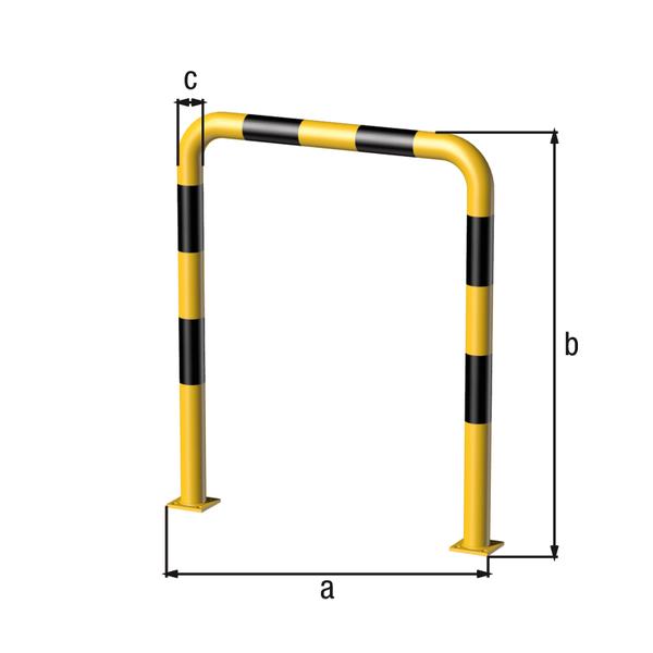 Rammschutz-Bügel, Material: Stahl roh, Oberfläche: grundiert, gelb kunststoffbeschichtet RAL 1018 mit schwarzen, reflektierenden Ringen, zum Aufschrauben, Breite: 1000mm, Bügelhöhe: 1200mm, Rohr-⌀: 76mm, Bodenplatte: 120 x 120mm, Anzahl Löcher:8, Loch: ⌀16mm