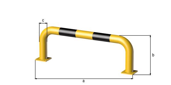 Rammschutz-Bügel, Material: Stahl roh, Oberfläche: grundiert, gelb kunststoffbeschichtet RAL 1018 mit schwarzen, reflektierenden Ringen, zum Aufschrauben, Breite: 1000mm, Bügelhöhe: 350mm, Rohr-⌀: 76mm, Bodenplatte: 120 x 120mm, Anzahl Löcher:8, Loch: ⌀16mm