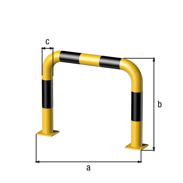 Rammschutz-Bügel, Material: Stahl roh, Oberfläche: grundiert, gelb kunststoffbeschichtet RAL 1018 mit schwarzen, reflektierenden Ringen, zum Aufschrauben, Breite: 750mm, Bügelhöhe: 600mm, Rohr-⌀: 76mm, Bodenplatte: 120 x 120mm, Anzahl Löcher:8, Loch: ⌀16mm