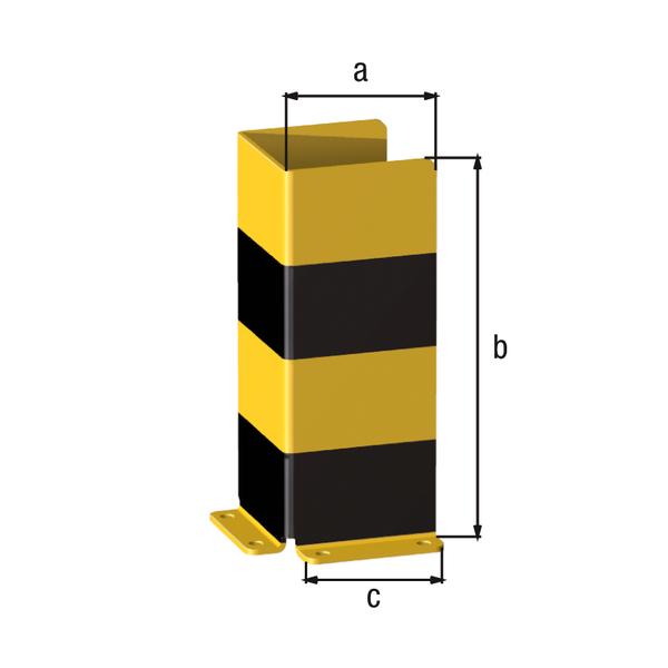 Rammschutz-U-Winkel, Material: Stahl roh, Oberfläche: grundiert, gelb kunststoffbeschichtet RAL 1018 mit schwarzen, reflektierenden Ringen, zum Aufschrauben, Breite: 160mm, Höhe: 400mm, Breite Anschraubplatte: 140mm, Materialstärke: 6,00mm, Anzahl Löcher:6, Loch: ⌀14mm
