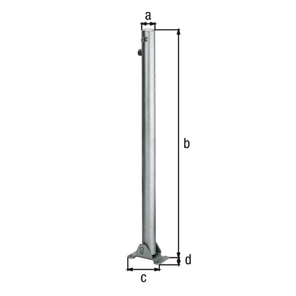 Absperrpfosten Klappy, rund, umlegbar, Material: Stahl roh, Oberfläche: feuerverzinkt passiviert, zum Aufschrauben, gleichschließendes Profilzylinderschloss mit drei Schlüsseln, Pfosten-⌀: 60mm, Höhe über Boden: 1000mm, Plattenlänge: 160mm, Plattenbreite: 100mm