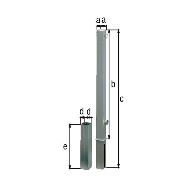 Absperrpfosten Passau, eckig, herausnehmbar, Material: Stahl roh, Oberfläche: feuerverzinkt passiviert, zum Einbetonieren, Dreikantschloss ohne Dreikantschlüssel, Pfosten: 70 x 70mm, Höhe über Boden: 1000mm, Gesamtlänge Pfosten: 1200mm, Bodenhülse: 80 x 80mm, Länge Bodenhülse: 400mm, Anzahl Ösen: 1