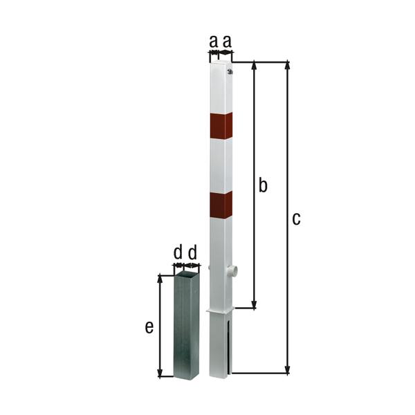 Absperrpfosten Passau-Royal, eckig, herausnehmbar, Material: Stahl roh, Oberfläche: feuerverzinkt, weiß kunststoffbeschichtet mit zwei roten, reflektierenden Ringen, zum Einbetonieren, Pfosten: 70 x 70mm, Höhe über Boden: 1000mm, Gesamtlänge Pfosten: 1200mm, Bodenhülse: 80 x 80mm, Länge Bodenhülse: 400mm, Anzahl Ösen: 0