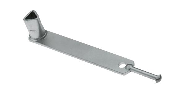 Dreikantschlüssel für Absperrpfosten mit Dreikantschloss, Winkelschlüssel mit Niethaken, Material: Stahl roh, Oberfläche: verzinkt, Breite: 30mm, Gesamtlänge: 245mm