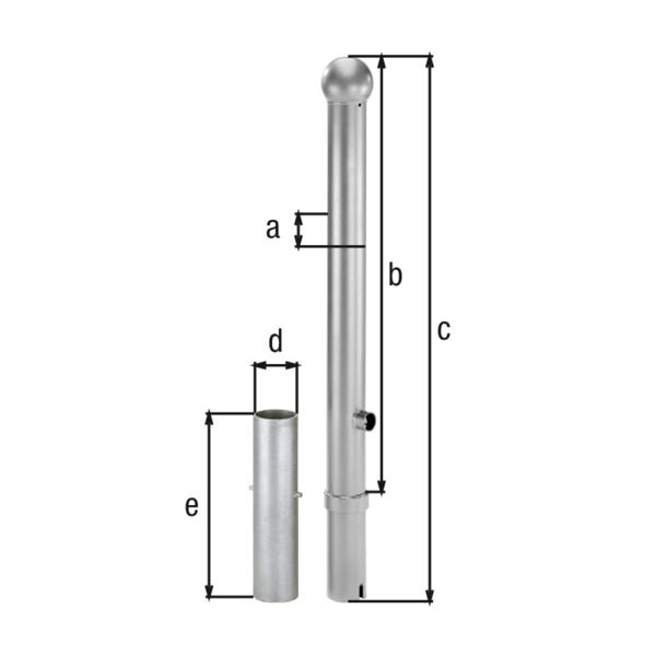 Absperrpoller Rustikal, Material: Stahl roh, Oberfläche: feuerverzinkt passiviert, zum Einbetonieren, herausnehmbar, Pfosten-⌀: 89mm, Höhe über Boden: 1000mm, Gesamtlänge Pfosten: 1200mm, Bodenhülsen-⌀: 101mm, Länge Bodenhülse: 400mm