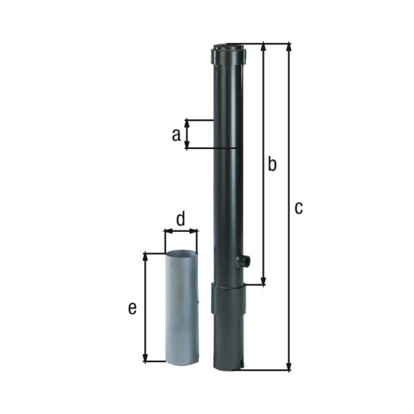 Absperrpoller Format, Material: Stahl roh, Oberfläche: feuerverzinkt, anthrazit-metallic kunststoffbeschichtet, zum Einbetonieren, herausnehmbar, Pfosten-⌀: 115mm, Höhe über Boden: 1000mm, Gesamtlänge Pfosten: 1200mm, Bodenhülsen-⌀: 127mm, Länge Bodenhülse: 400mm